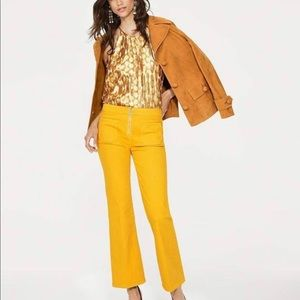 NWOT Tory Burch India Gold flare jeans